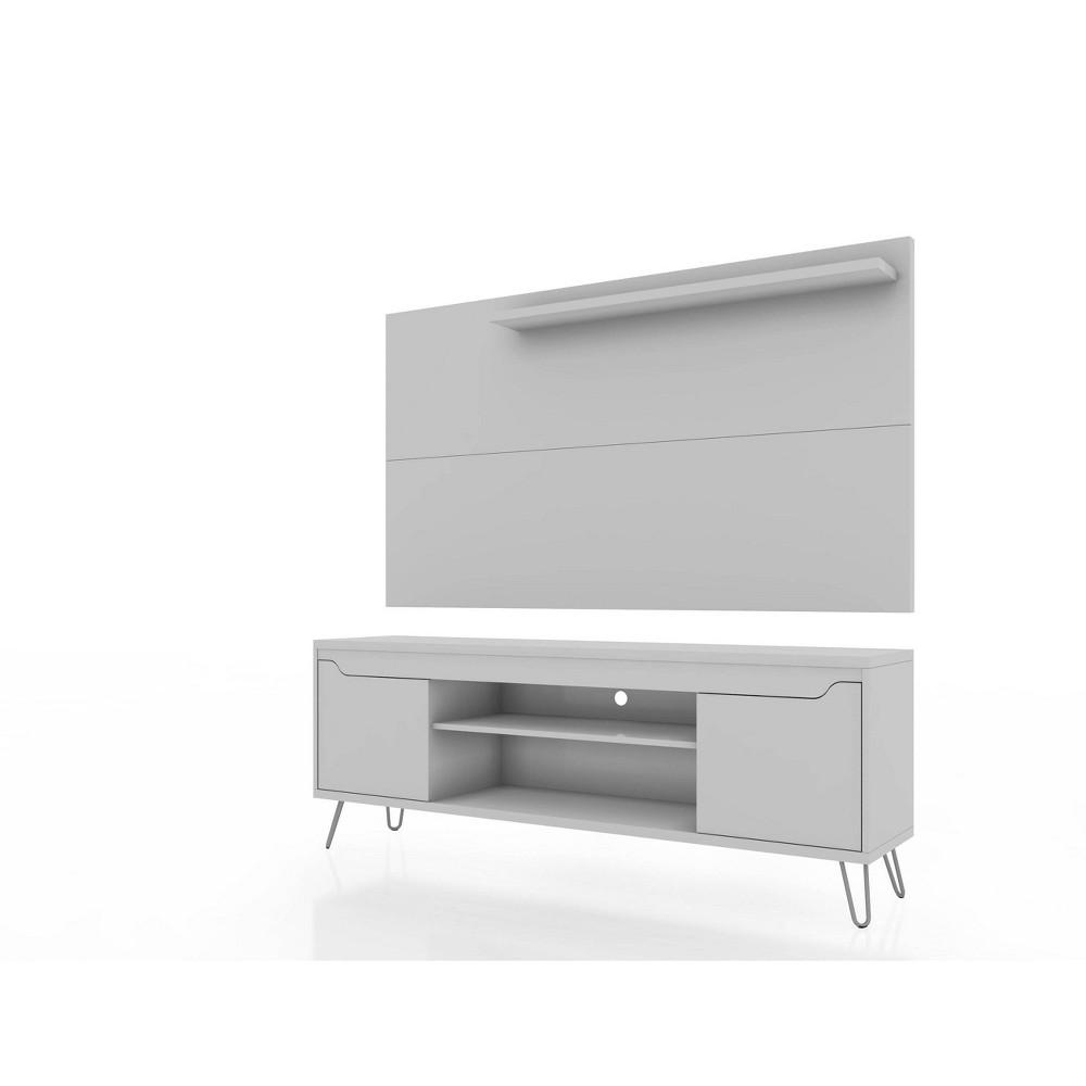 50 34 Baxter Tv Stand And Liberty Panel White Manhattan Comfort