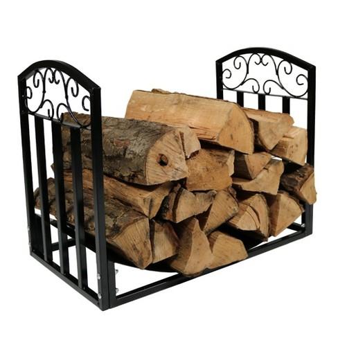 Designer Steel Indoor/Outdoor Log Rack - 2' Black - Sunnydaze Decor - image 1 of 6