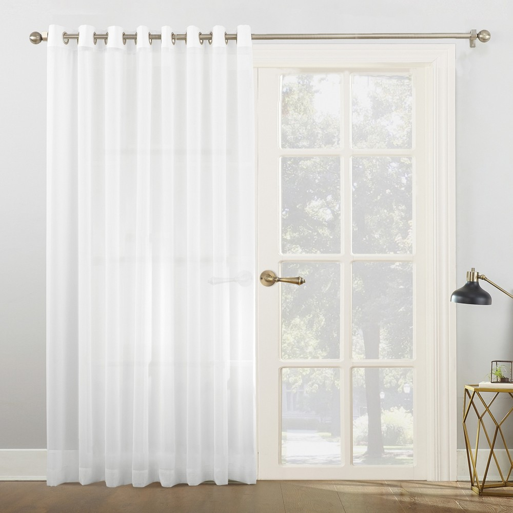 Emily Sheer Voile Sliding Door Patio Curtain Panel White 100