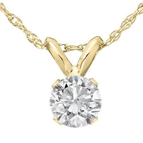 Pompeii3 1/3 Ct Diamond Solitaire Pendant Necklace in 14k White Or Yellow Gold - image 1 of 3