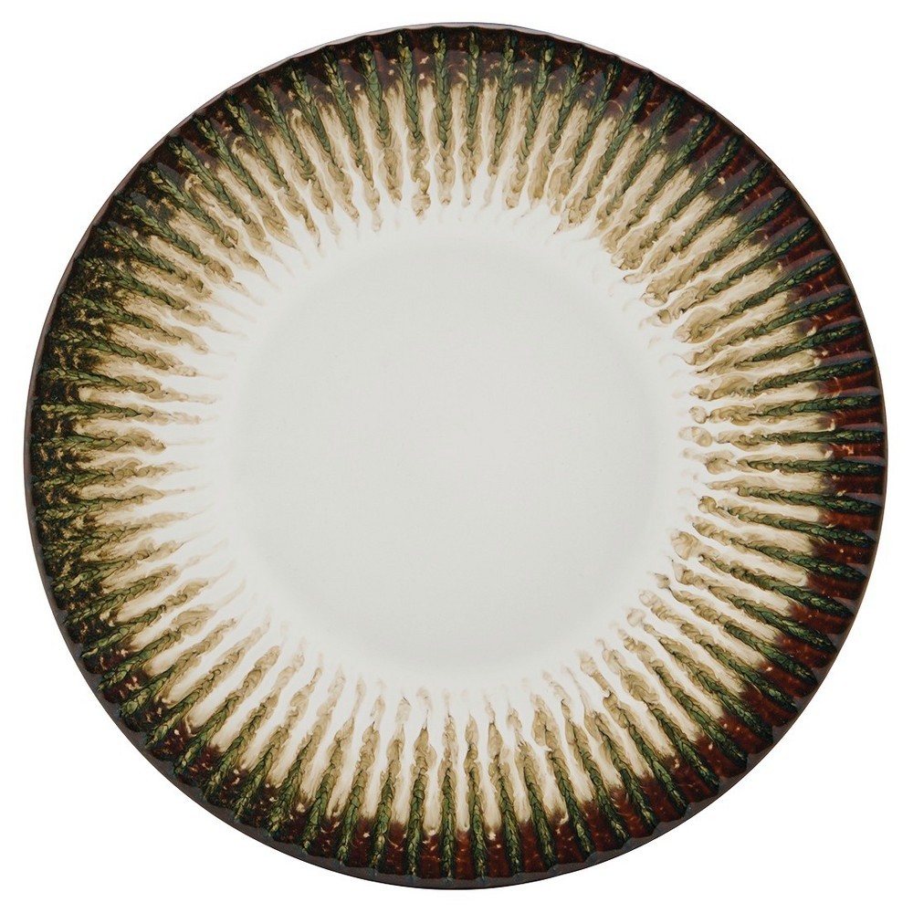 "Image of ""Pfaltzgraff Expressions Ridge Stoneware Salad Plate 8 """" Cream/Brown - Set of 4, Beige Brown"""