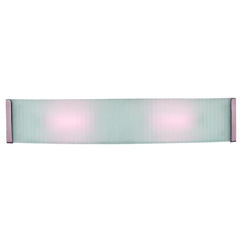 Helium LED Bath Light Brushed Steel Finish with Checkered Frosted Glass Shade - image 1 of 1