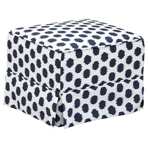 Storkcraft Polka Dot Upholstered Ottoman - White/Navy - image 1 of 2