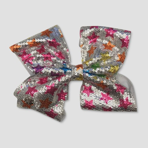 Girls' Nickelodeon JoJo Siwa Sequined Star Bow Hair Clip - Silver - image 1 of 2