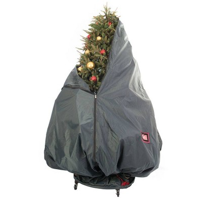 TreeKeeper Decorated Upright Tree Storage Bag with Rolling Tree Stand