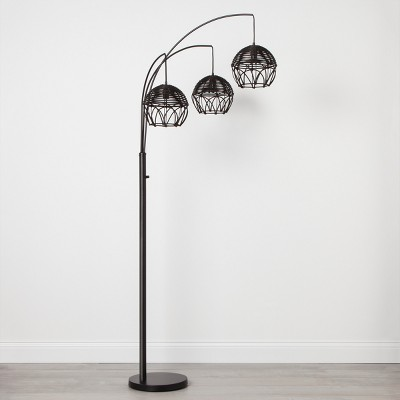 Rattan 3 Head Arc Floor Lamp Black Includes Energy Efficient Light Bulb - Opalhouse™