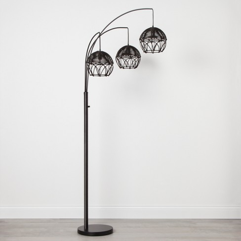 Rattan 3 Head Arc Floor Lamp Black - Opalhouse™ - image 1 of 4