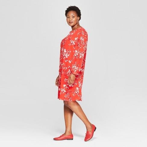 c838acfe0da Women s Plus Size Floral Print Tie Back Dress - Ava   Viv™ Red 2X   Target