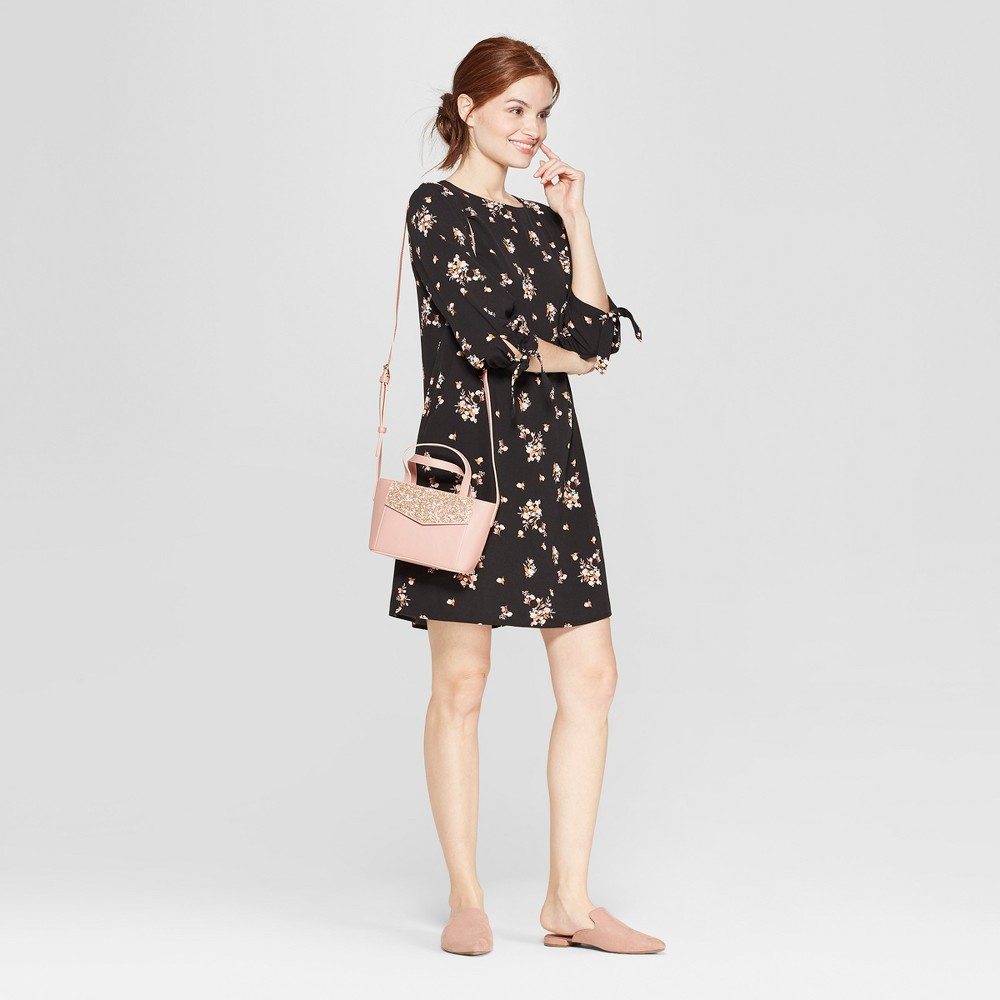 Women's Floral Print 3/4 Sleeve Crepe Dress - A New Day Black M