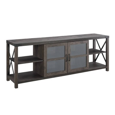"""Sophie Rustic Farmhouse X Frame Glass Doors TV Stand for TVs up to 80"""" - Saracina Home"""