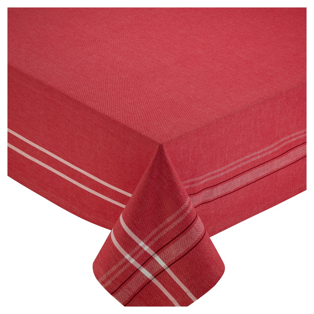 "Image of ""Design Imports 84""""X60"""" French Chambray Tablecloth Red"""