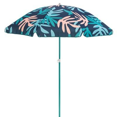 SlumberTrek 3053261VMI Moda Outdoor Adjustable Height Push Button Tilt Umbrella with Carrying Bag for the Beach or Picnics, Coral Leaf Print