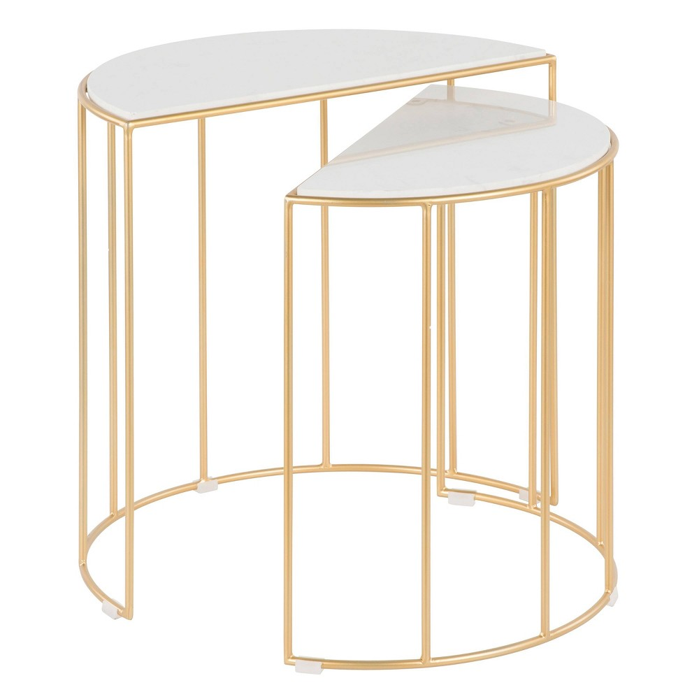 Canary Contemporary Nesting Table Marble Gold/White - LumiSource