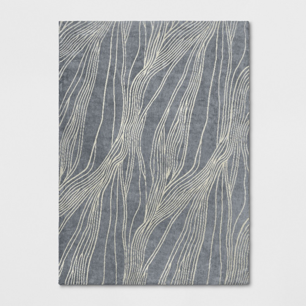 9'X12' Tufted Wave Area Rug Light Gray - Project 62