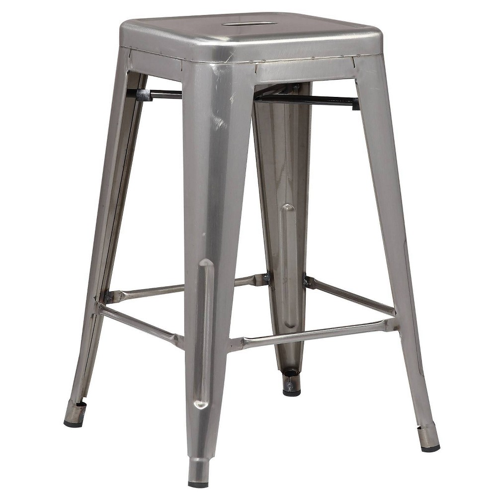 "Image of ""24"""" Franco Industrial Counter Height Stool Polished Gunmetal - Poly & Bark"""