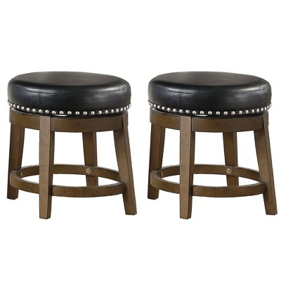 Lexicon Whitby 18 Inch Dining Height Wooden Bar Stool with Solid Wood Legs and Faux Leather Round Swivel Seat Kitchen Barstool Dining Chair (2 Pack)