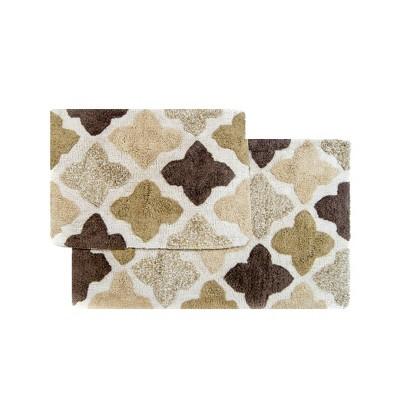 Alloy Moroccan Tiles 2 Piece Bath Rug Set Khaki - Chesapeake Merchandising Inc.
