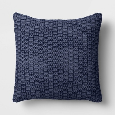 "18""x18"" Square Knit Throw Pillow Navy"