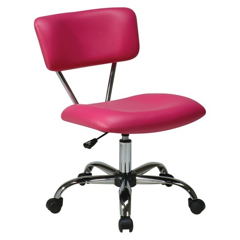 Vista Chrome and Vinyl Desk Chair Pink - Office Star - image 1 of 4