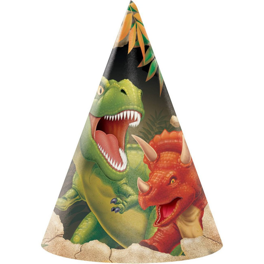 Image of 24ct Dinosaur Party Hats, wearable party accessories