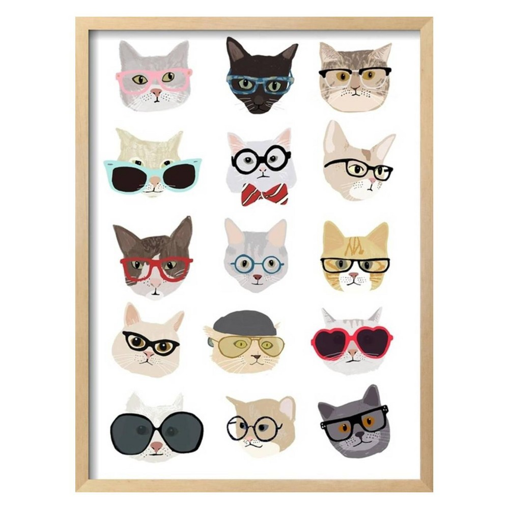 Cats with Glasses By Hanna Melin Framed Wall Art Poster Print 21