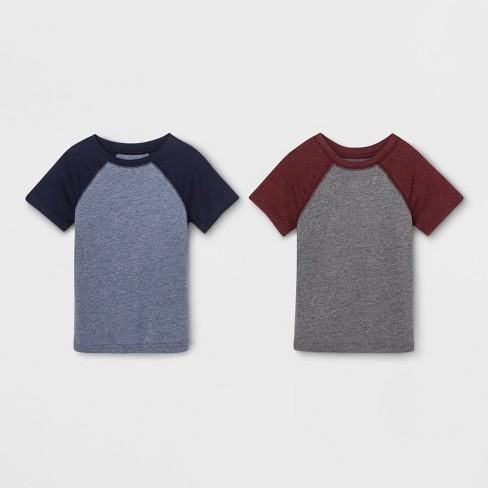 82942b74cd3 Toddler Boys  2pk Short Sleeve Raglan T-Shirt - Cat   Jack™ Gray Blue