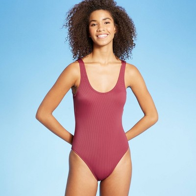 Women's Simple Textured One Piece Swimsuit - Sea Angel Wine