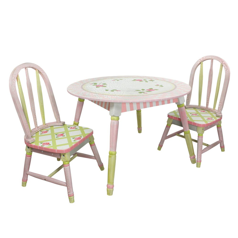 Image of Crackled Rose Fantasy Fields Table & Chairs Set - Teamson Kids