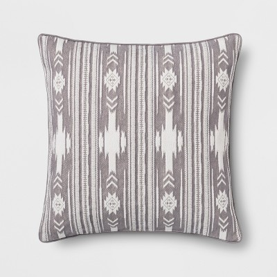 Southwest Stripe Oversize Square Throw Pillow Gray - Threshold™