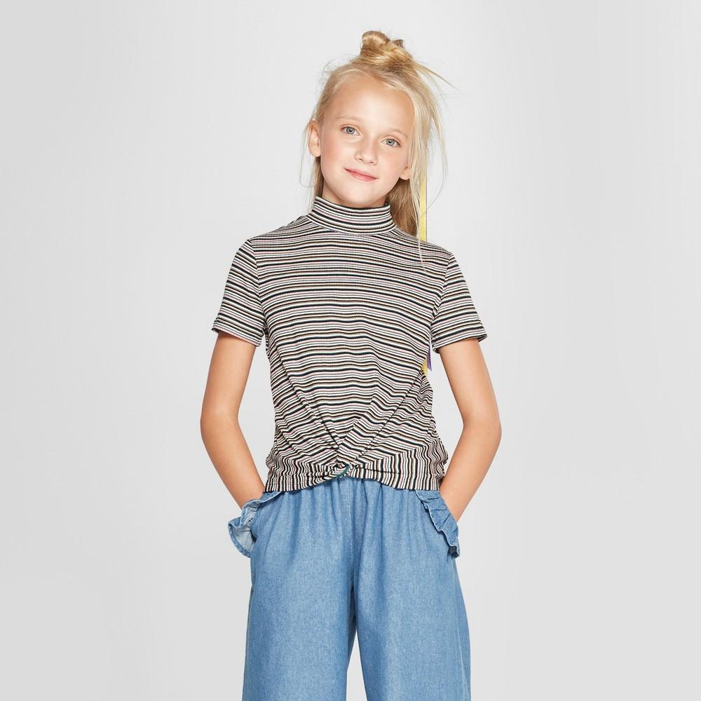 Girls' Mock Neck Twist Front Short Sleeve T-Shirt - art class Gray XS, Multicolored