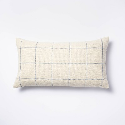 Oversized Windowpane Lumbar Throw Pillow Cream/Blue - Threshold™ designed with Studio McGee