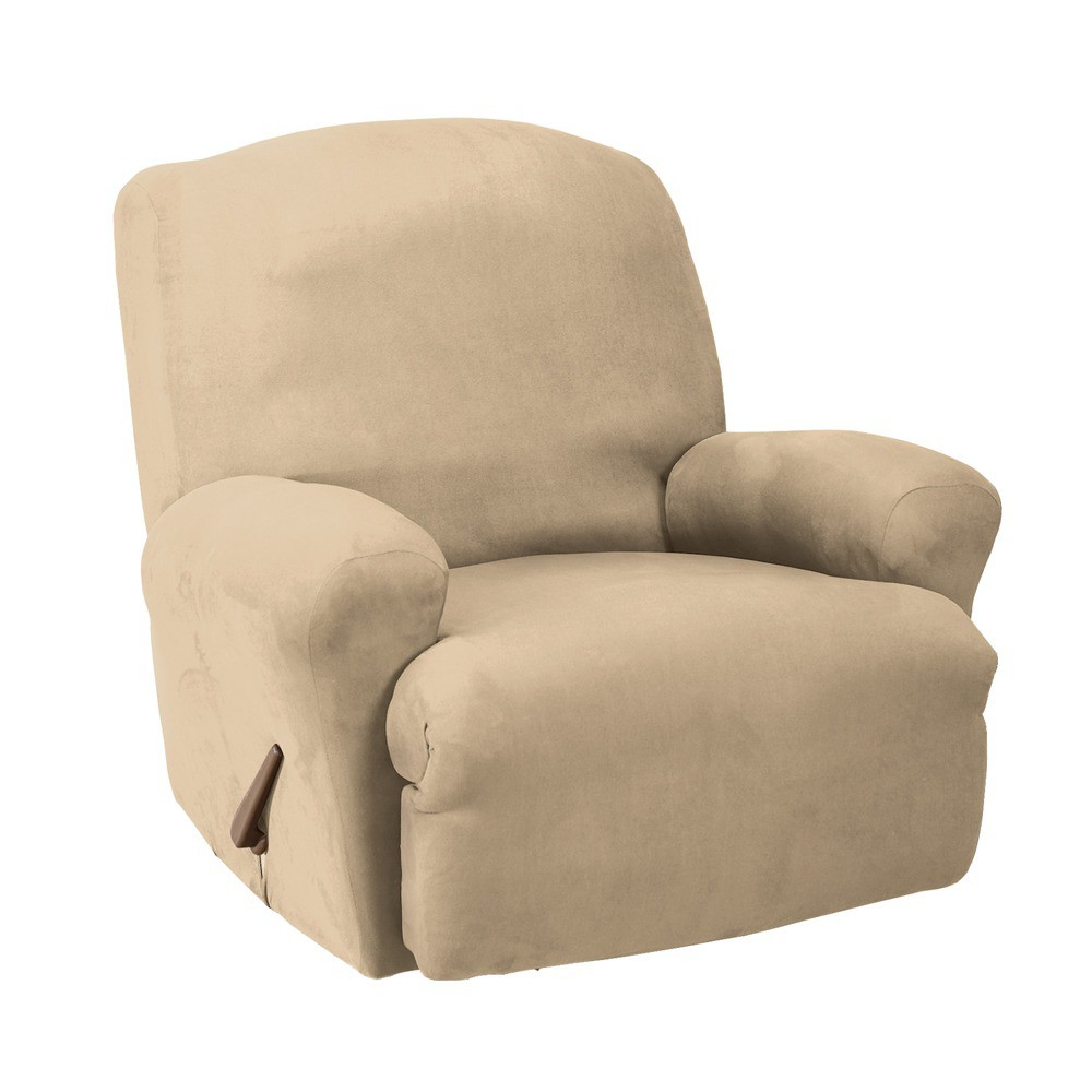 Stretch Suede Recliner Slipcover Oatmeal - Sure Fit