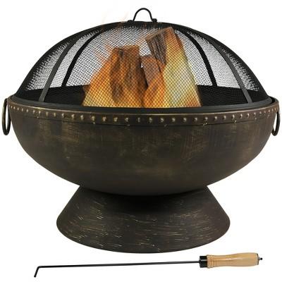 """Large Outdoor 30"""" Wood Burning Fire Pit Bowl - Round - Sunnydaze Decor"""