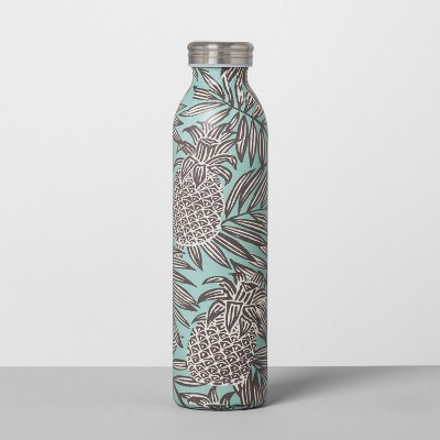 Stainless Steel Water Bottle 20oz - Pineapple Teal/Gray
