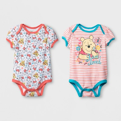 Baby Girls' 2pk Disney Winnie the Pooh Bodysuit - Pink 0-3M
