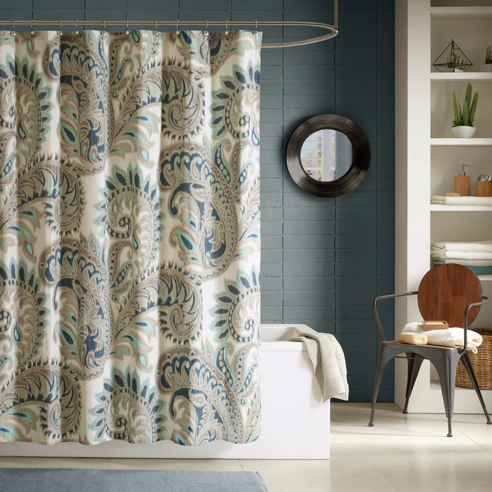 """Image of """"72""""""""x72"""""""" Mira Cotton Printed Shower Curtain Blue"""""""