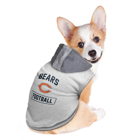 5ee5429cbe6 Chicago Bears Little Earth Pet Hooded Crewneck Football Shirt - Gray ...