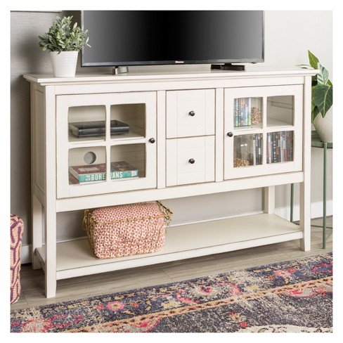 52 Console Table Tv Storage Stand Antique White Saracina Home Target