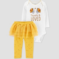 Baby Girls' 2pc 'Thankful & Loved' Top & Bottom Set - Just One You® made by carter's Yellow