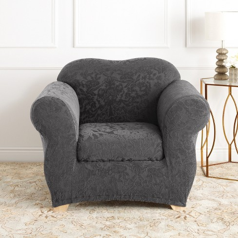 Stretch Jacquard Damask Chair Slipcover Sure Fit Target