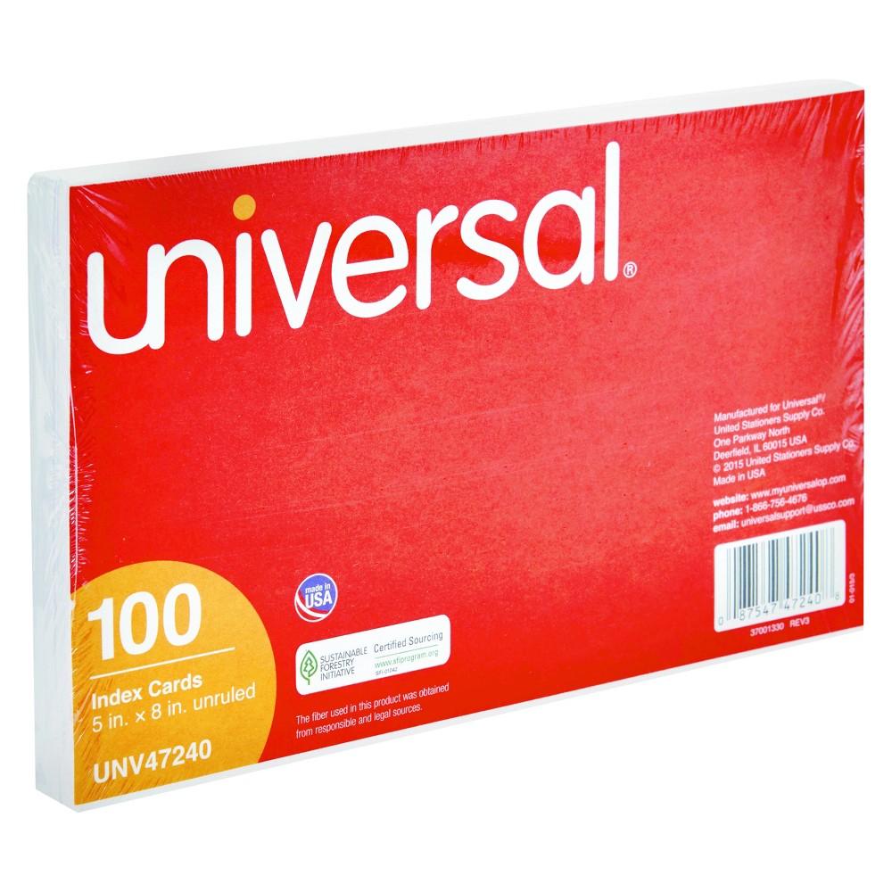 Universal Unruled Index Cards, 5 x 8, White, 100pk