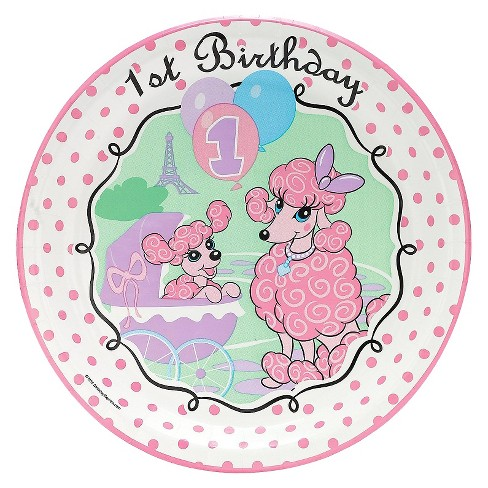 8ct 1st Birthday Parisian Poodle Dinner Plate - image 1 of 1