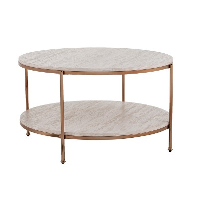 Sula Round Faux Stone Cocktail Table Champagne - Aiden Lane