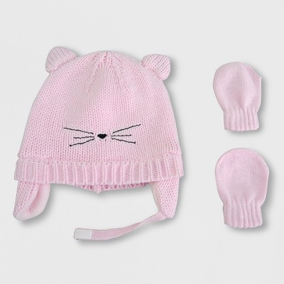 Baby Girls' Cat Hat and Mitten Set - Cat & Jack™ Pink Newborn