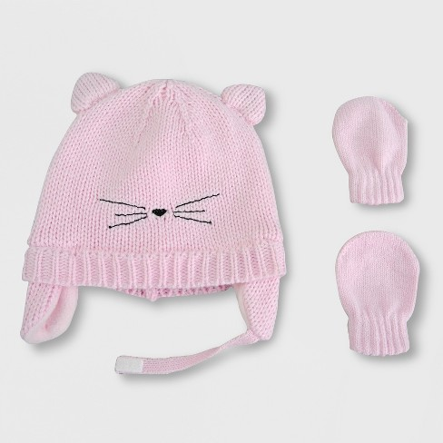 1fc1429cdfbb3 Baby Girls  Cat Hat And Mitten Set - Cat   Jack™ Pink   Target