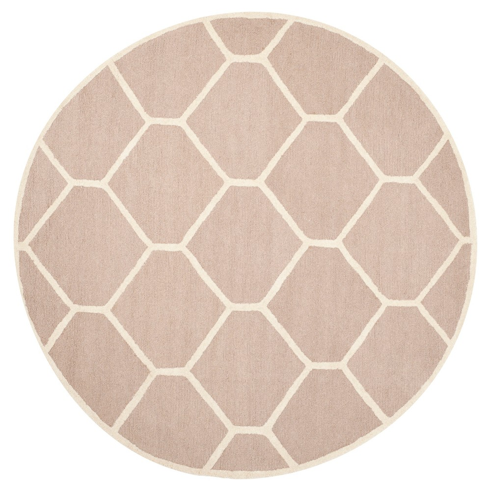 Hunter Texture Wool Rug - Beige / Ivory (6' X 6' Round) - Safavieh, Beige/Ivory