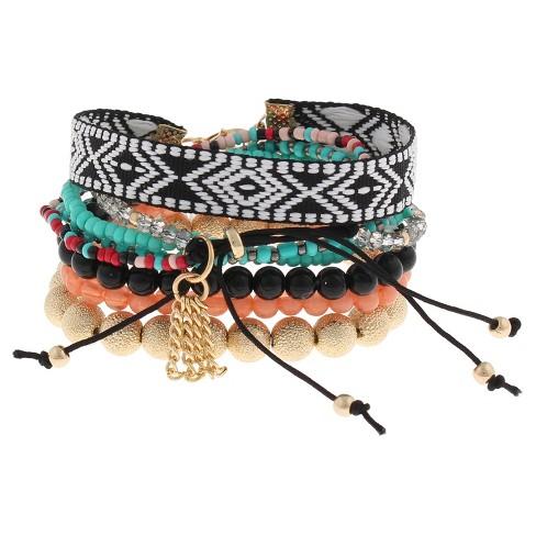 Bracelet Set With Mixed Beaded Bracelets And Aztec Print Trim Black Gold
