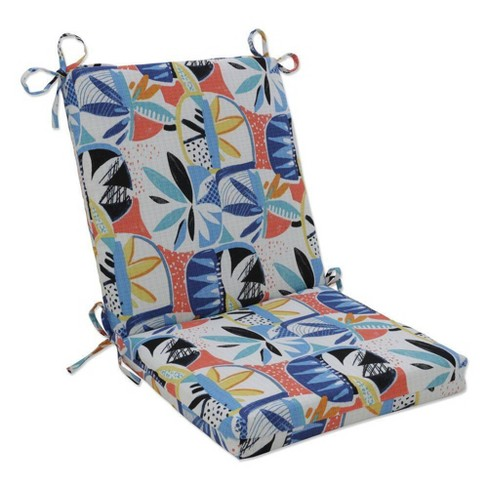 Outdoor/Indoor Squared Chair Pad Upbeat Disco Blue - Pillow Perfect - image 1 of 1