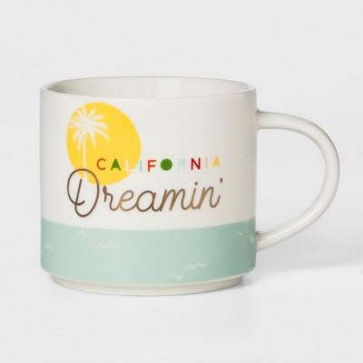 16oz Stoneware California Dreamin' Mug White/Green - Threshold™