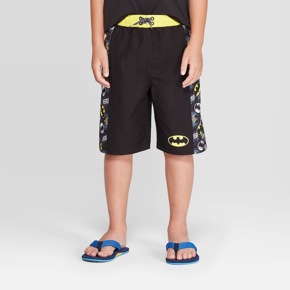 Image of Boys' Batman Logo Swim Trunks - Black/Yellow L, Boy's, Size: Large, Black Yellow